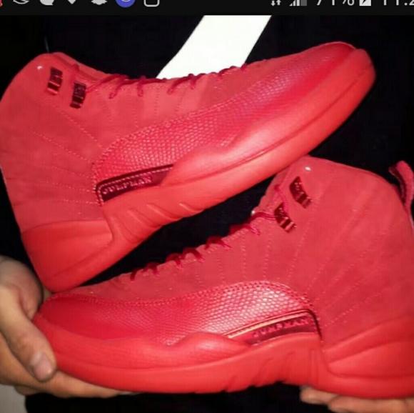 Shoes   Red Suede Jordan 12s   Poshmark